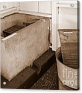Antiquated Bathtub Washboard And Laundry Tub In Sepia Acrylic Print