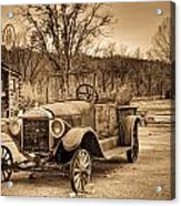 Antique Car At Service Station In Sepia Acrylic Print
