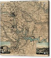 Antique Civil War Map Of Richmond And Petersburg Virginia By William C. Hughes - Circa 1864 Acrylic Print