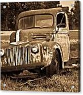 Antique Cut Bed Truck In Sepia Acrylic Print