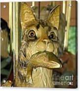 Antique Dentzel Menagerie Carousel Cat With Fish In Rochester New York Acrylic Print