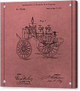 Antique Fire Engine Patent On Red Acrylic Print