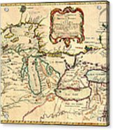 Antique French Map Of The Great Lakes 1755 Acrylic Print