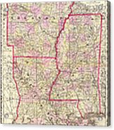 Antique Map Of Arkansas Mississippi And Louisiana Acrylic Print