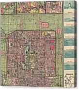 Antique Map Of Beijing China By Jiarong Su - 1921 Acrylic Print by Blue Monocle