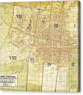 Antique Map Of Del Plano Oficial De La Ciudad De Mexico Acrylic Print