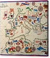 Antique Map Of Europa 1563 Acrylic Print