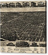 Antique Map Of Fort Worth Texas By H. Wellge - 1886 Acrylic Print