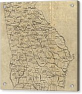 Antique Map Of Georgia - 1893 Acrylic Print