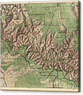 Antique Map Of Grand Canyon National Park By The National Park Service - 1926 Acrylic Print