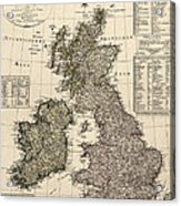 Antique Map Of Great Britain And Ireland By I. G. A. Weidner - 1801 Acrylic Print