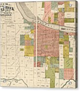 Antique Map Of Little Rock Arkansas By Gibb And Duff Rickon - 1888 Acrylic Print by Blue Monocle