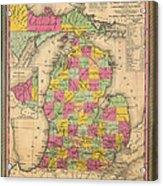 Antique Map Of Michigan 1853 Acrylic Print
