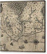 Antique Map Of North Carolina And Virginia By John White - 1590 Acrylic Print