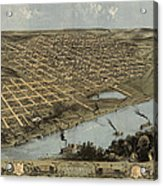 Antique Map Of Omaha Nebraska By A. Ruger - 1868 Acrylic Print by Blue Monocle