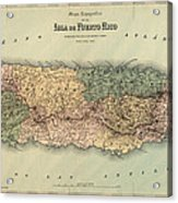 Antique Map Of Puerto Rico - 1886 Acrylic Print by Blue Monocle