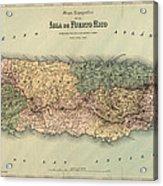 Antique Map Of Puerto Rico - 1886 Acrylic Print