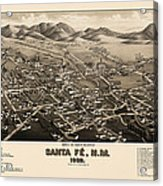 Antique Map Of Santa Fe New Mexico By H. Wellge - 1882 Acrylic Print by Blue Monocle