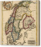 Antique Map Of Scandinavia By Fielding Lucas - Circa 1817 Acrylic Print by Blue Monocle