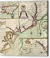 Antique Map Of South Carolina By Edward Crisp - Circa 1711 Acrylic Print