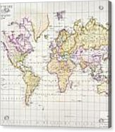 Antique Map Of The World Acrylic Print by James The Elder Wyld