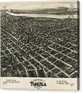 Antique Map Of Tulsa Oklahoma By Fowler And Kelly - 1918 Acrylic Print
