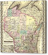 Antique Map Of Wisconsin 1855 Acrylic Print