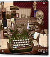 Antique Oliver Typewriter On Old West Physician Desk Acrylic Print by Janice Rae Pariza