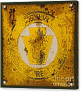 Antique Metal Pennsylvania Forest Fire Warden Sign Acrylic Print