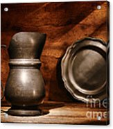 Antique Pewter Pitcher And Plate Acrylic Print