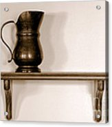 Antique Pewter Pitcher On Old Wood Shelf Acrylic Print