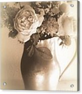 Antique Vase And Roses Acrylic Print