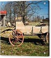 Antique Wagon And Mountain Cabin 1 Acrylic Print by Douglas Barnett