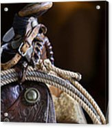 Antique Western Saddle Acrylic Print by Dick Wood