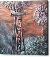 Antique Windmills At Dusk Acrylic Print