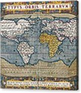 Antique World Map Circa 1570 Acrylic Print