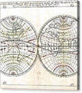 Antique World Map Harmonie Ou Correspondance Du Globe 1659 Acrylic Print