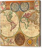 Antique World Map In Hemispheres 1794 Acrylic Print
