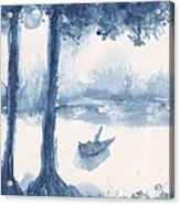 Antwerp Blue Landscape Watercolor Acrylic Print