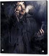 Anxious Australian Sas Soldier On Night Watch Acrylic Print