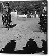 Apache Roping Cow Labor Day Rodeo White River Arizona 1969 Acrylic Print