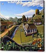 Appalachia Summer Farming Landscape - Appalachian Country Farm Life Scene - Rural Americana Acrylic Print