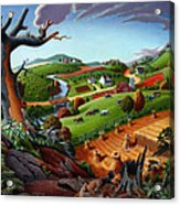 Appalachian Fall Thanksgiving Wheat Field Harvest Farm Landscape Painting - Rural Americana - Autumn Acrylic Print