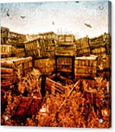 Apple Crates And Crows Acrylic Print by Bob Orsillo