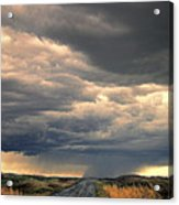 Approaching Storm On Country Road Acrylic Print