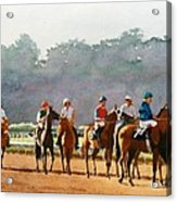 Approaching The Starting Gate Acrylic Print by Mary Helmreich