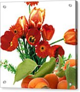 Apricots And Red Roses Acrylic Print