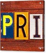 April License Plate Name Sign Fun Kid Room Decor Acrylic Print