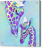 Aqua And Purple Loving Giraffes Acrylic Print