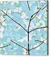 Aqua Blues Greens Leaves Melody Acrylic Print
